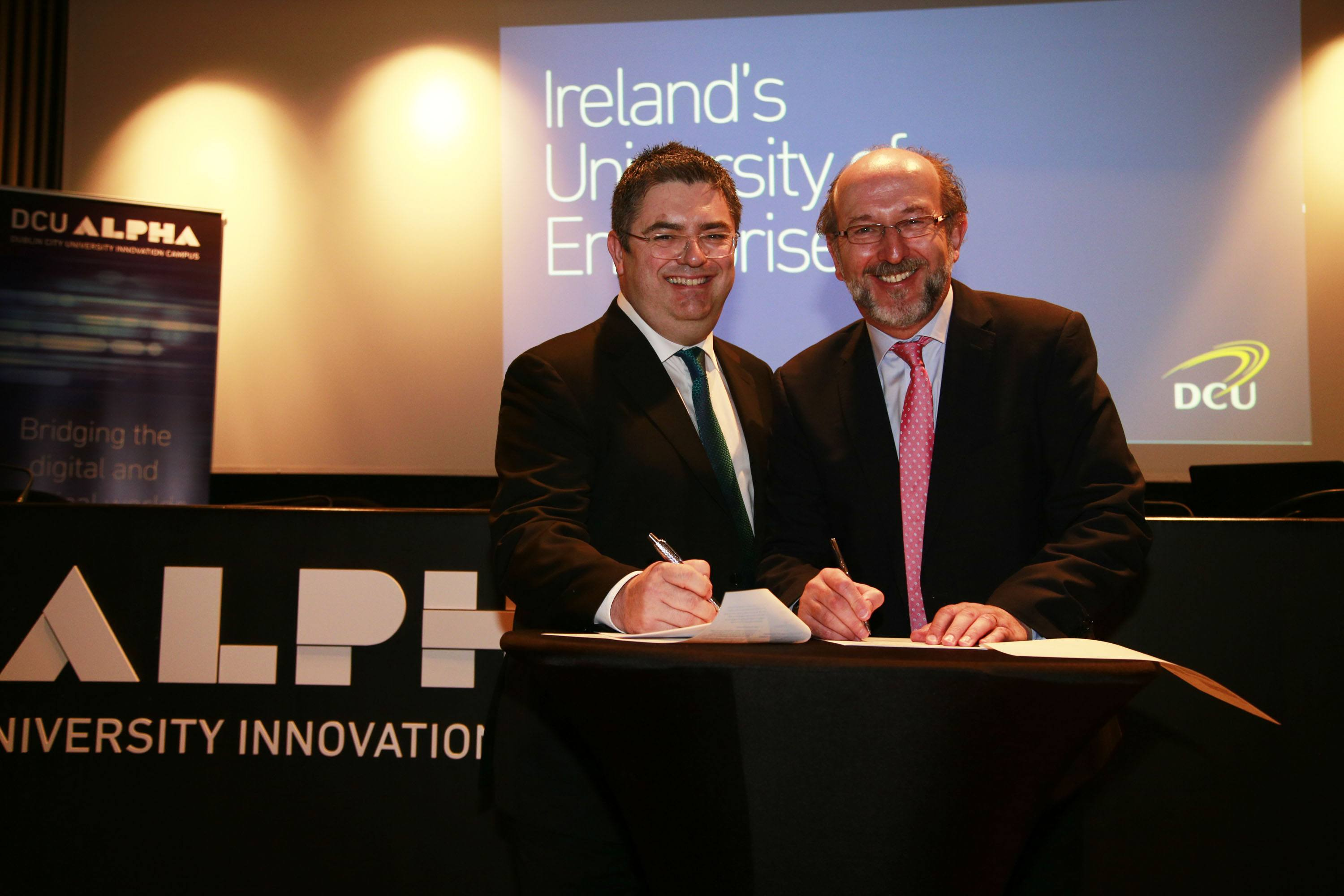 REPRODUCTION FREE 25/01/2017 - NEWS - DCU joins forces with Intel to foster talent and develop advanced technologies Pictured were Eamonn Sinnott, General Manager, Intel Ireland and Vice President of Intel's Technology Manufacturing Group and Professor Brian MacCraith, President of DCU. Photograph Nick Bradshaw Dublin City University and Intel have today signed an agreement which will see the two organisations collaborate on talent development and on technologies that have the potential to transform how we live, learn, work and engage with the arts in the future. Building on more than two decades of partnership between DCU and Intel, the two organisations have now formalised their relationship and identified joint areas of interest for greater collaboration in research and innovation, shaping public policy in key areas and the development of future talent.