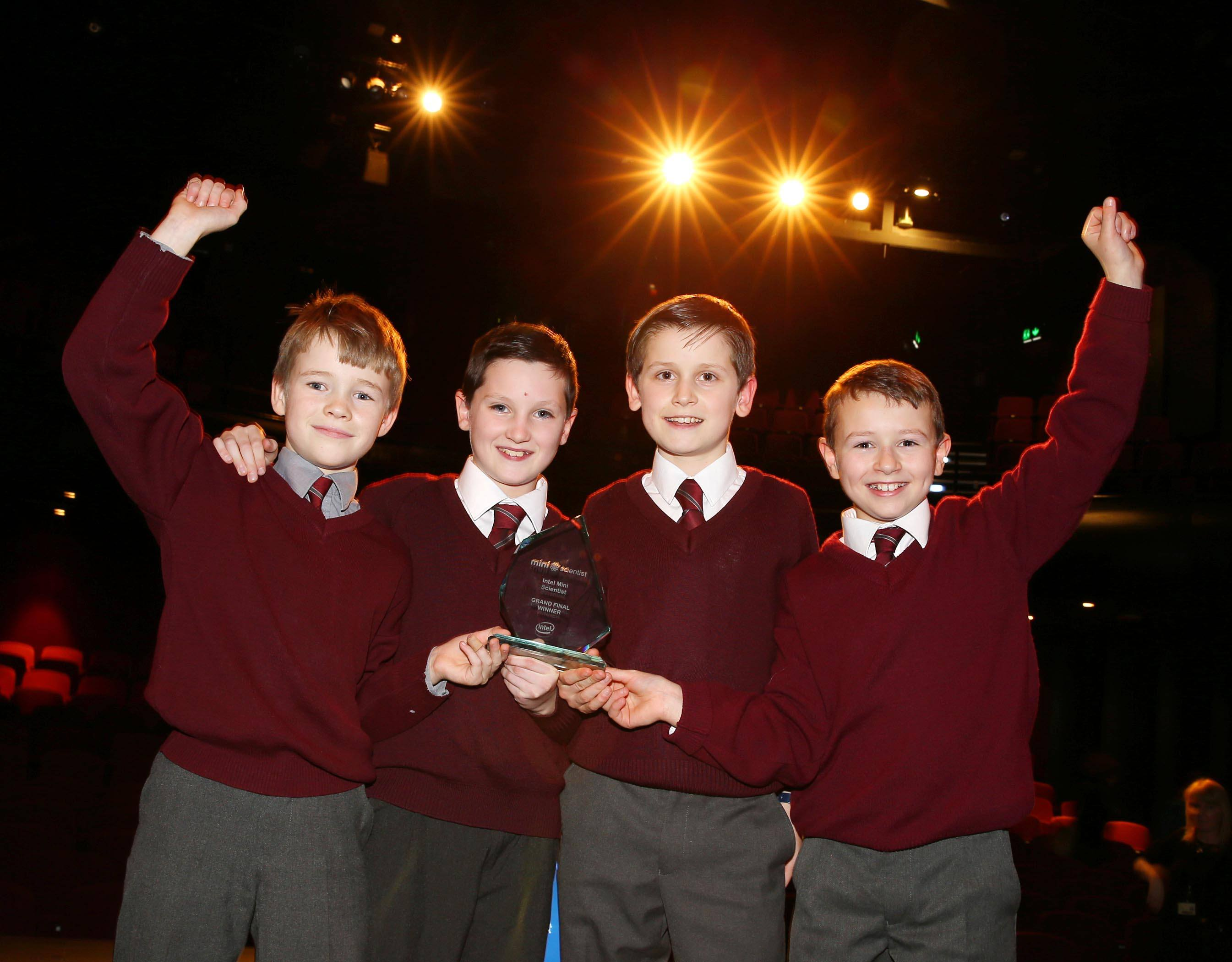 3/2/17 ***NO REPRO FEE*** Winners of the Mini Scientist, Shane Leahy, Sean O'Brien, Marc O'Brien and Eoin Carey from St. Johns National School in Cratloe Co.Clare pictured at the Grand Final awards ceremony which took place today at the Helix in Dublin City University. Badger Victim or Villain: The winning project investigated the behaviour and habitat of the Irish Badger. The myth of badgers spreading bovine TB was exposed and alternative to culling was studied in the form of a vaccination. The students also developed their own badger repellent based on their own in depth investigations. Pic: Marc O'Sullivan